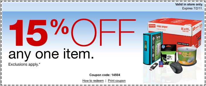 heres a printable staples coupon for 15 off 1 item good in store only exp 72111
