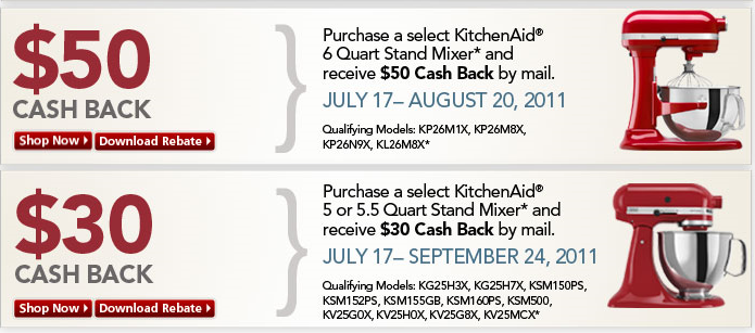 Here are two Kitchen Aid rebates ...