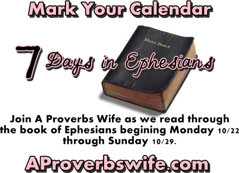 7 Days in Epehesians | AProverbsWife.com | #ProverbsWife #Faith #Inspiration