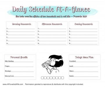FREE Daily Homemaking Schedule | AProverbsWife.com | #ProverbsWife #Homemaking