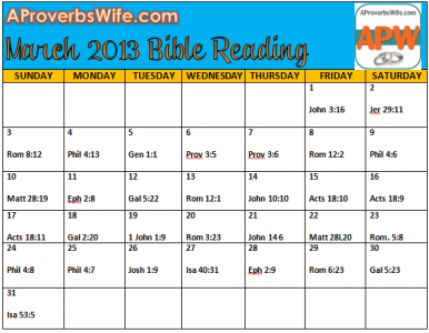 March 2013 Bible Reading Plan