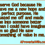 I serve God because He gave me a new hope and a perfect purpose. He dusted me off and made me into someone better than I could have imagined. Im so glad He saw something of value in me.