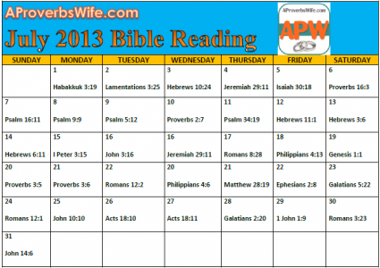 July Bible Reading Plan