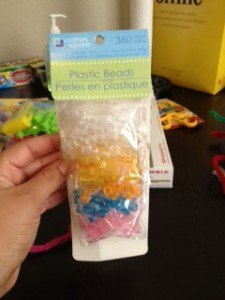The plastic beads we used to thread through pipe cleaners. This was a bit challenging for my little one. The beads were a bit small. I am on the lookout for larger ones so we can work our way up to the smaller ones.