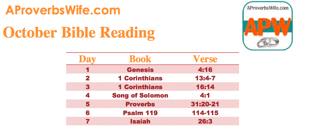 October Bible Reading Plan